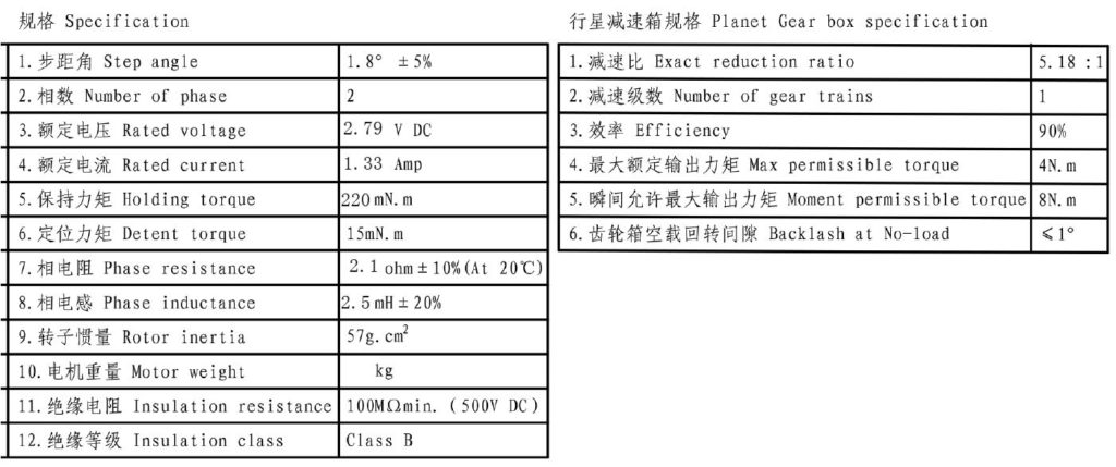 Reduced Stepper Motor 1:58 electrical gear specifications.